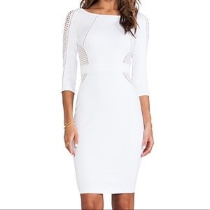 BAILEY44 White Bodycon Dress with mesh detailing
